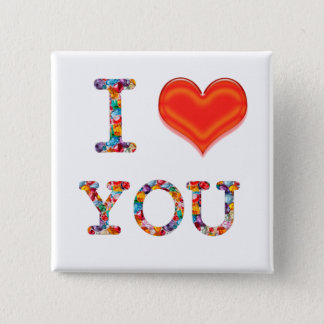 I LOVE YOU  Lovely SCRIPT Heart Image 2 Inch Square Button