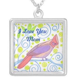 I Love You Mom Cardinal Necklace