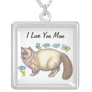 I Love You Mom Cat Lovers Necklace