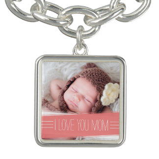 I Love You Mom | Coral Banner Photo Charm Bracelets