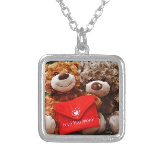 I LOVE YOU MOM - Cute & Cuddly Teddy Bears Silver Plated Necklace