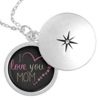 I love you Mom, Heart Pink Gold Black Round Locket Necklace
