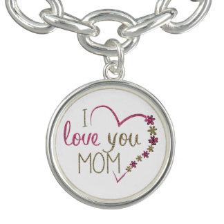 I love you Mom, Heart Pink Gold Text Charm Bracelets