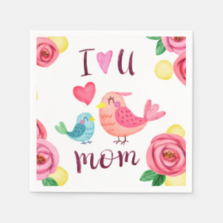 I Love You Mom Mother's Day | Napkin Disposable Napkin