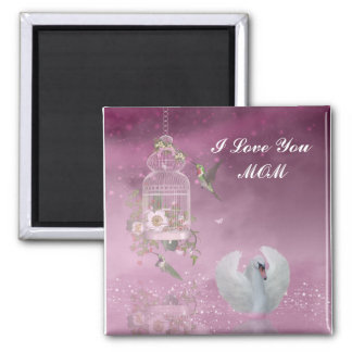 """I Love You, Mom"" Square Magnet"