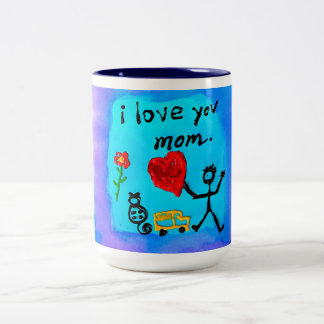 I Love You Mom Two-Tone Coffee Mug