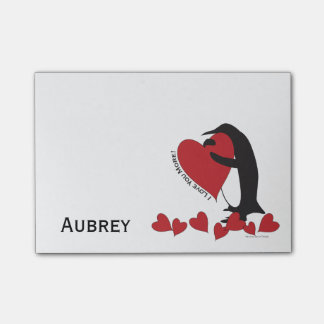 I Love You More! - Penguin Red Hearts Personalized Post-it® Notes