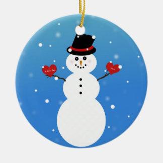 I Love You More Snowman Ceramic Ornament