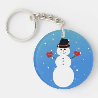 I Love You More Snowman Single-Sided Round Acrylic Keychain