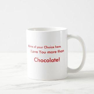 I Love You more than  Chocolate!  Mug with name.