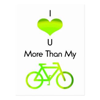 I love you more than my bike in green postcard