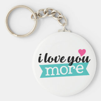 I love you more word art sentiment key chain