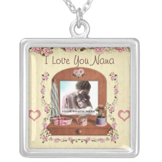 I Love You Nana Silver Photo Necklace