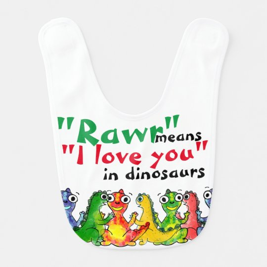 """I love you"" note with cute baby dinosaurs Bib"