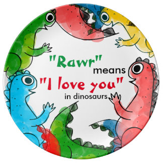 """I love you"" note with cute baby dinosaurs Porcelain Plates"