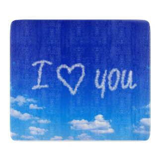 I love you on clouds cutting board