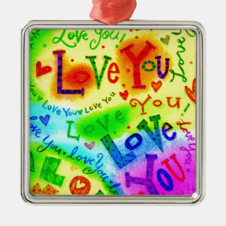 I LOVE YOU Painting Metal Ornament
