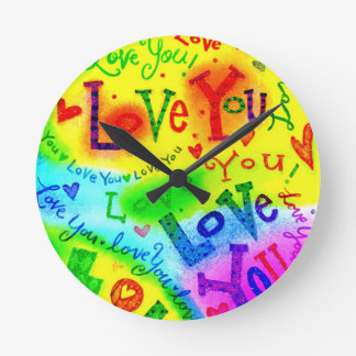 I LOVE YOU Painting Round Clock