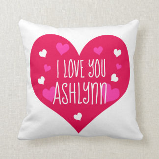I Love You Personalized Hearts Throw Pillow