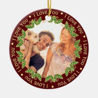 I Love You Personalized Photo & Monogram Christmas Ceramic Ornament