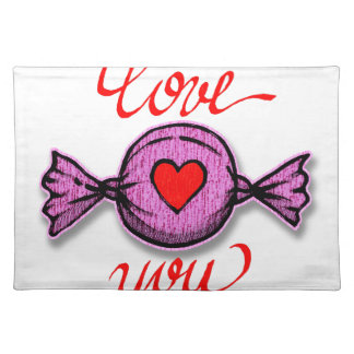 I Love you (pink candy) Placemat