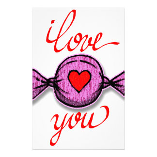 I Love you (pink candy) Stationery