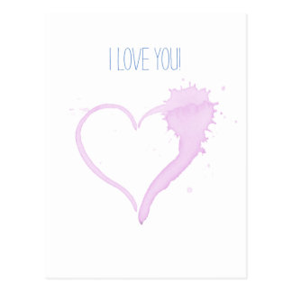 I Love You pink heart postcard