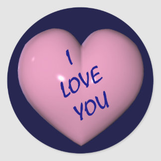 I Love You Pink Heart Sticker Label