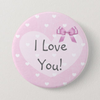 I Love You  Pink Hearts White Bow Button