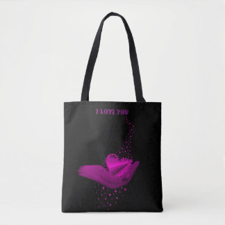 I love You , pink Rainbow Heart with Stars Tote Bag