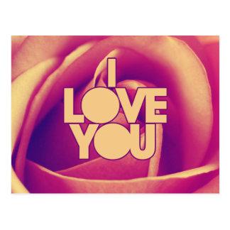 I Love You Pink Rose Postcard