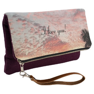 I love you Pink Sky Sunset Painting Clutch