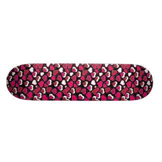 I Love You Pink & White Hearts Skateboard