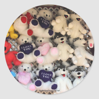 I Love You Plush Bear Photo Sticker Label