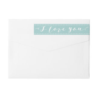 I Love You | Pool Blue All Occasion Return Address Wrap Around Label