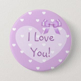 I Love You Purple Hearts White Bow Button