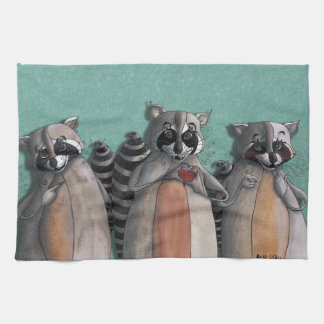 I love you raccoons kitchen towel