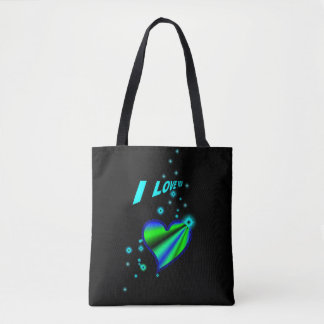 I love you , Rainbow Heart with Stars on black Tote Bag