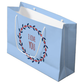 I Love You Red and Blue Wreath Large Gift Bag