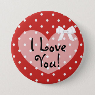 I Love You Red Dots Romantic White Bow Button