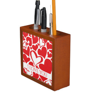 I love you red heart decoration falling in love desk organizer