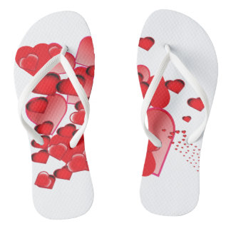 I love you red heart illustrations flip flops