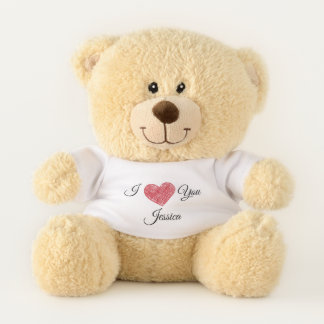 I love you red heart personalized teddy bear