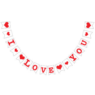 I LOVE YOU Red Hearts Valentine Wedding Decor Bunting Flags
