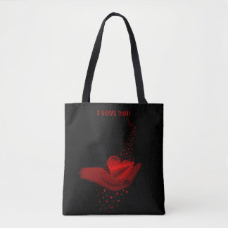 I love You , red Rainbow Heart with Stars Tote Bag
