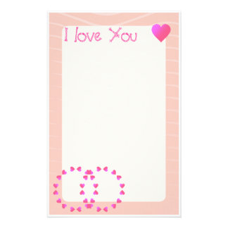 I love you | Romantic hearts Stationery