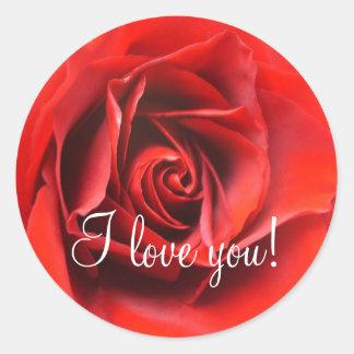 I Love You Rose Classic Round Sticker