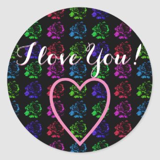 I Love You Round Sticker