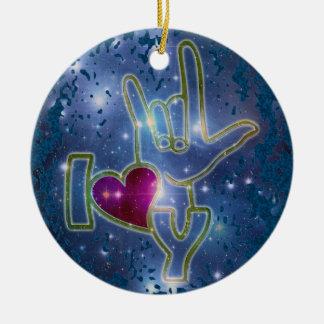 I LOVE YOU / sign language | dark blue splatter Round Ceramic Ornament