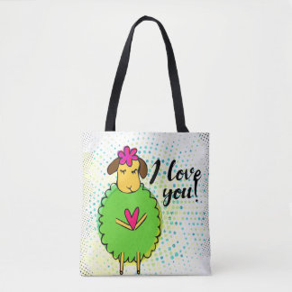 """""""I love you"""" sign with graphic retro grunge Tote Bag"""